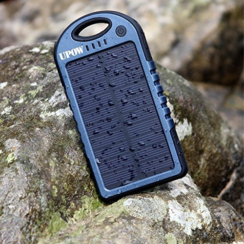 Solar Charger Upow 5000mah Portable Charger Dual Usb Port