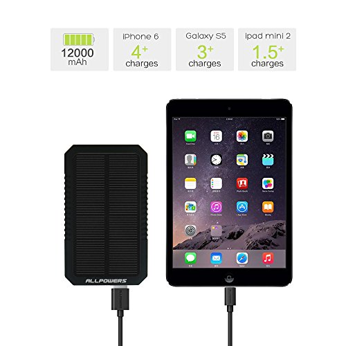 Allpowers 12000mah Dual Usb Solar Battery Charger Panel