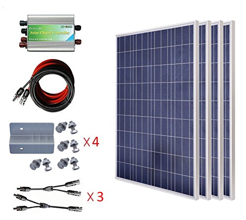 ECO-WORTHY 400 Watts Solar System Kit: 4pcs 100W Poly Solar Panel + 45A PWM  Charge Controller + Solar Cable Adapter + Z Mounting Brackets + Y Branch