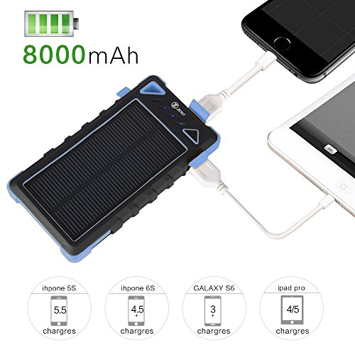 Solar Charger For Emergency Zzero 8000mah Dual Usb 2 1a 1a