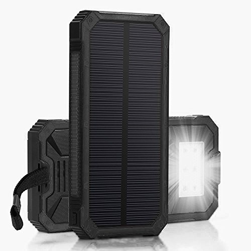 Queenacc 15000mah Solar Panel Charger With Led Flashlight