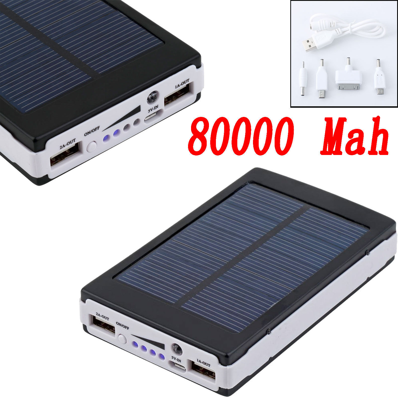 Black 80000mah Dual Usb Portable Solar Battery Charger